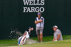 May 3, 2019 - Charlotte, NC, U.S. - CHARLOTTE, NC - MAY 03: Jason Dufner chips from the trap on the 15th green during the second round of the Wells Fargo Championship at Quail Hollow on May 3, 2019 in Charlotte, NC. (Photo by William Howard/Icon Sportswire) (Credit Image: © William Howard/Icon SMI via ZUMA Press)