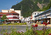 Alaska Juneau. Summer flower gardens brighten the street.