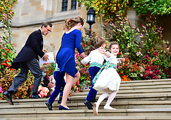 The bridesmaids and page boys arrive with Lady Louise Mountbatten-Windsor, for the wedding of Princess Eugenie to Jack Brooksbank at St George's Chapel in Windsor Castle.