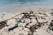 Garbage along the shore at Isla Pacheca. Las Perlas Archipelago, Panama province, Panama, Central America.