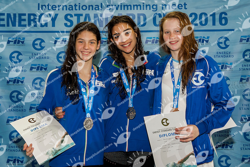 Medals Ceremony<br /> 50m Freestyle - Youth Girls<br /> Energy Standard Cup 2016<br /> Ge.Tur Complex - Lignano Sabbiadoro (UD)<br /> 30 Aprile-1 May 2016<br /> Photo A.Masini/Deepbluemedia