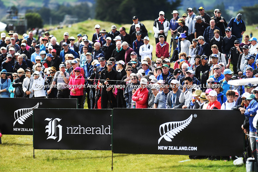 General view of the 8th fairway, galleries and signage.<br /> Round 2. McKayson NZ Women's Open 2017. LPGA Tour. Windross Farm, Auckland, New Zealand. Friday 29 September 2017. &copy; Copyright Photo: Andrew Cornaga / www.photosport.nz