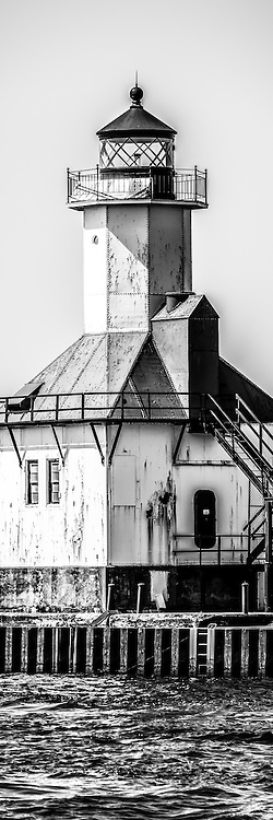 St. Joseph Lighthouse Vertical Panorama Black and White Picture. The St. Joseph Lighhouse is located in Southwestern Michigan on Lake Michigan. Panoramic photo ratio is 1:3. Image Copyright © Paul Velgos All Rights Reserved.