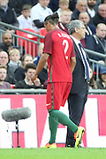 Portugal defender, Bruno Alves (02) red card, sent off Portugal manager, Fernando Santos  not looking during the Friendly International match between England and Portugal at Wembley Stadium, London, England on 2 June 2016. Photo by Matthew Redman.