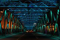 The Waibaidu Bridge (garden bridge) at night at the city of Shanghai in popular republic of China