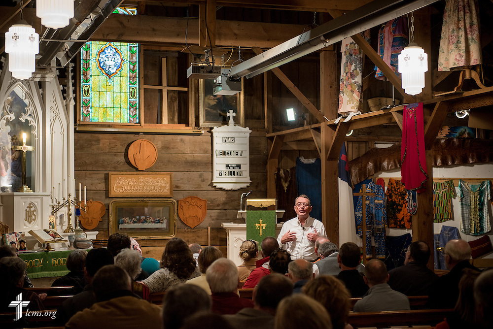 Gary Thies introduces guests to the sanctuary and mission museum at Mission Central on Sunday, July 19, 2015, in Mapleton, Iowa. LCMS Communications/Erik M. Lunsford