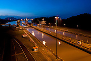 Night view of Miraflores Locks. Panama Canal, Panama City, Panama, Central America.