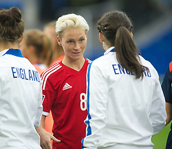 CARDIFF, WALES - Tuesday, August 21, 2014: Wales' captain Jessica Fishlock before the FIFA Women's World Cup Canada 2015 Qualifying Group 6 match against England at the Cardiff City Stadium. (Pic by Ian Cook/Propaganda)