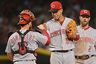 PHOENIX, AZ - JULY 08:  Luis Castillo #58 of the Cincinnati Reds is congratulated by Tucker Barnhart #16 after being relieved during the seventh inning of the MLB game against the Arizona Diamondbacks at Chase Field on July 8, 2017 in Phoenix, Arizona.  (Photo by Jennifer Stewart/Getty Images)