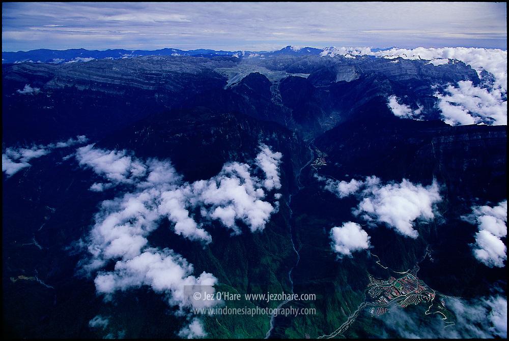 Freeport copper & gold mine, Puncak Jaya glaciers & Tembagapura town, Papua, Indonesia.