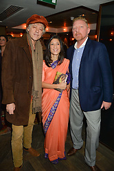 Left to right, SIR BOB GELDOF, FATIMA BHUTTO and BORIS BECKER at a reception to celebrate the publication of The Shadow of The Crescent Moon by Fatima Bhutto at the Belgraves Hotel, 20 Chesham Place, London, on 2nd December 2013.