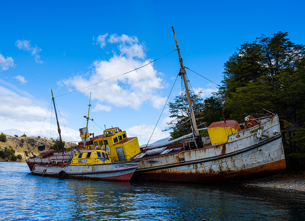 PUERTO RIO TRANQUILO, CHILE - CIRCA FEBRUARY 2019: Abandoned boat in General Carrera Lake close to Puerto Rio Tranquilo in Chile.