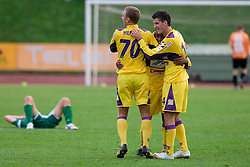 Ales Mertelj, Marcos Tavares and Vito Plut of Maribor celebrate after 13th Round of Prva Liga football match between NK Olimpija and Maribor, on October 17, 2009, in ZAK Stadium, Ljubljana. Maribor won 1:0. (Photo by Vid Ponikvar / Sportida)