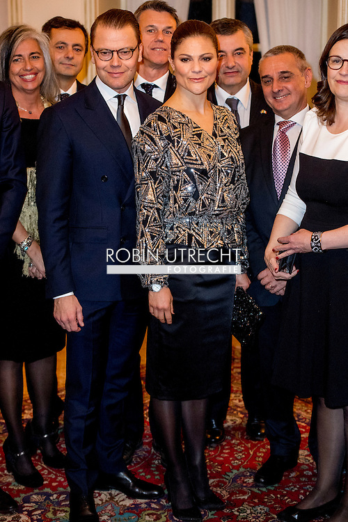 16-12-2016 MILAN ITALY - RECEPTION AT SOCIET&Agrave; DEL GIARDINO <br />  The Crown Princess Couple and Minister for Upper Secondary School and Adult Education and Training Anna Ekstr&ouml;m will participate at the Swedish-Italian Chamber of Commerce Assosvezia&rsquo;s yearly Lucia reception. <br />  The Crown Princess Couple&rsquo;s Princess Victoria and Prince Daniel visit to Rome and Milan, Italy, December 15-17  COPYRIGHT ROBIN UTRECHT