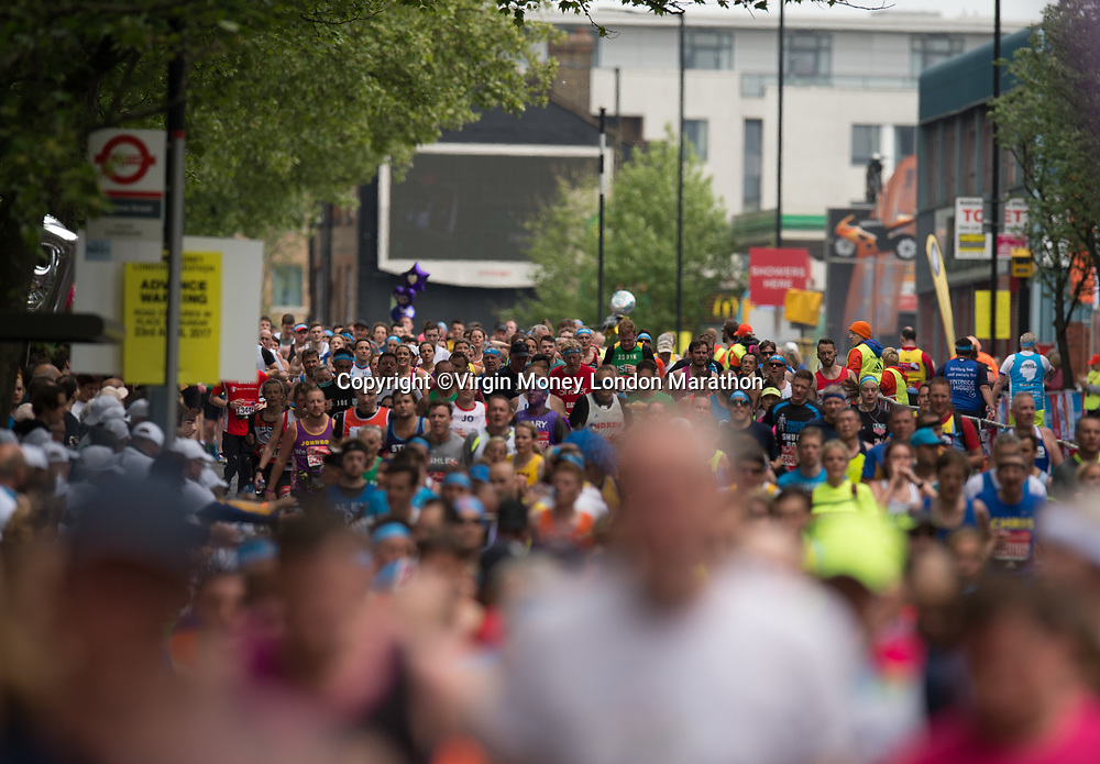 Runners make their way towards Mile 22 during The Mass Event. The Virgin Money London Marathon, 23rd April 2017.<br /> <br /> Photo: Joe Toth for Virgin Money London Marathon<br /> <br /> For further information: media@londonmarathonevents.co.uk