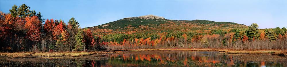 Mt. Monadnock panorama with fall foliage from Perkins Pond, Troy, NH.