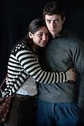 Javier Calvelo/ URUGUAY/ MONTEVIDEO/ FOTOGRAFIA/ Expoprado - Exposicion Rural del Prado de Montevideo/ Proyecto documental sobre la identidad, lo nacional, lo Uruguayo. Se trata de retratos simples mirando a camara y con un fondo neutro. Les pregunto a los fotografiados como quieren ser recordados en el futuro y de que localidad del Uruguay son.<br /> El titulo esta basado en la obra de Raymond Firth, Tipos Humanos. (Raymond William Firth, ( 1901-2002) fue un etn&oacute;logo neozeland&eacute;s profesor de Antropolog&iacute;a en la London School of Economics, es uno de los fundadores de la antropolog&iacute;a econ&oacute;mica brit&aacute;nica). <br /> En la foto:  Tipos Humanos en Expoprado, Jonathan Suarez y Katerine Vignoli, Canelones. Foto: Javier Calvelo <br /> clarisa.63@hotmail.com<br /> 2013-09-06 dia viernes