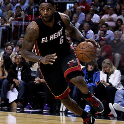 March 10, 2011; Miami, FL, USA; Miami Heat small forward LeBron James (6) against the Los Angeles Lakers during the fourth quarter at the American Airlines Arena. The Heat defeated the Lakers 94-88.   Mandatory Credit: Derick E. Hingle