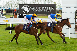 Elevate Her ridden by Nicola Currie and trained by Richard Spencer in the CB Protection Novice Median Auction Stakes. Ride And Prejudice ridden by Hector Crouch and trained by Julia Fielden in the CB Protection Novice Median Auction Stakes.  - Ryan Hiscott/JMP - 06/05/2019 - PR - Bath Racecourse- Bath, England - Kids Takeover Day - Monday 6th April 2019