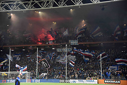 24.01.2018, Stadio Luigi Ferraris, Genua, ITA, Serie A, Sampdoria Genua vs AS Roma, 3. Runde, im Bild tifosi sampdoria // supporter sampdoria during the Italian Serie A 3th round match between Sampdoria Genua and AS Roma at the Stadio Luigi Ferraris in Genua, Italy on 2018/01/24. EXPA Pictures © 2018, PhotoCredit: EXPA/ laPresse/ Tano Pecoraro<br /> <br /> *****ATTENTION - for AUT, SUI, CRO, SLO only*****