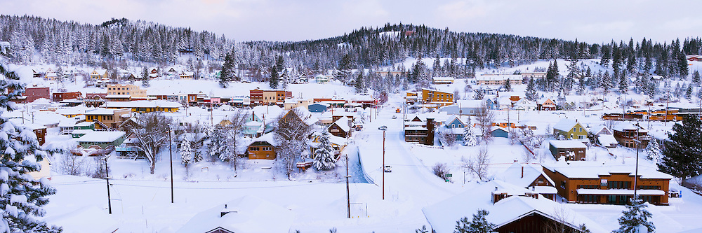 A panorama photo of the town of Truckee California after a snow storm