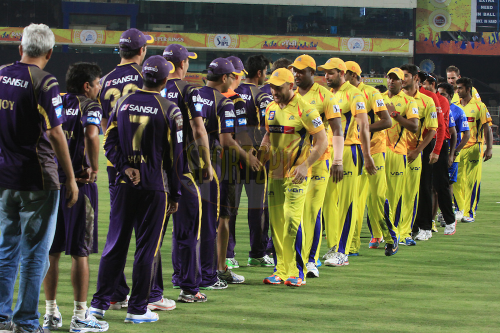 KKR and CSK players shake hands after match 21 of the Pepsi Indian Premier League Season 2014 between the Chennai Superkings and the Kolkata Knight Riders  held at the JSCA International Cricket Stadium, Ranch, India on the 2nd May  2014<br /> <br /> Photo by Arjun Panwar / IPL / SPORTZPICS<br /> <br /> <br /> <br /> Image use subject to terms and conditions which can be found here:  http://sportzpics.photoshelter.com/gallery/Pepsi-IPL-Image-terms-and-conditions/G00004VW1IVJ.gB0/C0000TScjhBM6ikg