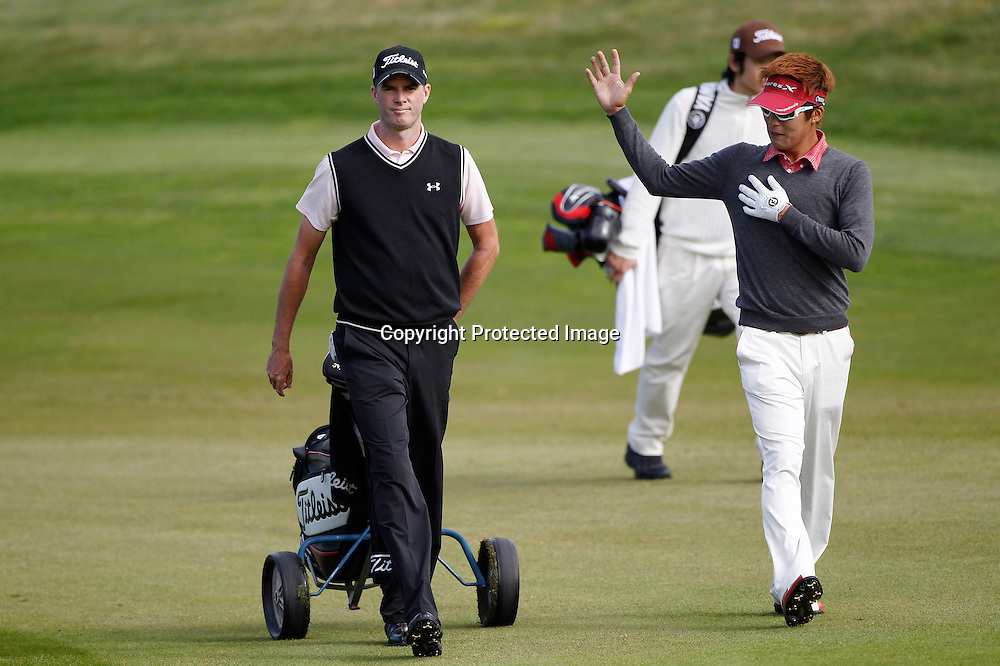 David Smail and Jay Choi during the practice round of the NZPGA Championships being played at The Hills, Arrowtown, New Zealand. 28 March 2012. Pic Michael Thomas