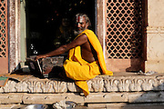 A Hindu holly man and his squeeze box at a temple in Jaipur, India, Sunday, Nov. 22, 2015. (AJ Mast)