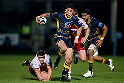 Bryce Heem of Worcester Warriors takes on Paul Hill of Northampton Saints and Dylan Hartley of Northampton Saints - Mandatory by-line: Robbie Stephenson/JMP - 21/12/2018 - RUGBY - Sixways Stadium - Worcester, England - Worcester Warriors v Northampton Saints - Gallagher Premiership