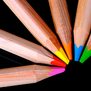A collection of brightly colored pencils in an arrangement