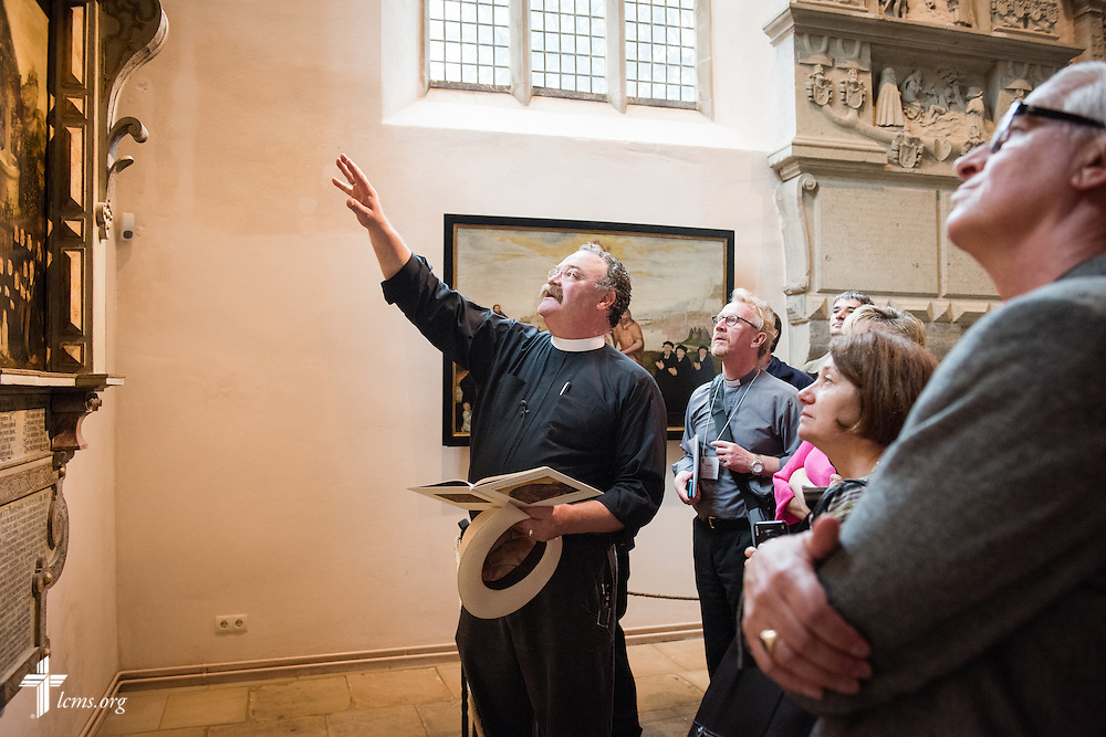 The Rev. Dr. Matthew C. Harrison, president of The Lutheran Church–Missouri Synod, leads a tour of  the Town and Parish Church of St. Mary's in Wittenberg, Germany, on Tuesday, May 5, 2015. LCMS Communications/Erik M. Lunsford