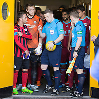 St Johnstone v Real Sociedad...12.07.15  Bayview, Methil (Home of East Fife FC)<br /> Chris Millar and Zander Calrk talk with ref John Beaton before kick off<br /> Picture by Graeme Hart.<br /> Copyright Perthshire Picture Agency<br /> Tel: 01738 623350  Mobile: 07990 594431