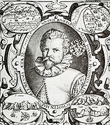 Jan Huyghen van Linschoten (1563, Haarlem – 8 February 1611,)Dutch Protestant merchant, traveller and historian. He is credited with copying top-secret Portuguese nautical maps thus enabling the passage to the elusive East Indies to be opened to the English and the Dutch. This enabled the British East India Company and the Dutch East India Company to break the 16th century monopoly enjoyed by the Portuguese on trade with the East Indies. English: Portrait of Jan Huygen van Linschoten, from the princeps edition of his Itinerario. 17th century.