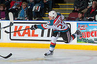 KELOWNA, CANADA - JANUARY 7: Calvin Thurkauf #27 of the Kelowna Rockets shoots the puck against the Kamloops Blazers on January 7, 2017 at Prospera Place in Kelowna, British Columbia, Canada.  (Photo by Marissa Baecker/Shoot the Breeze)  *** Local Caption ***