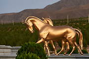 Ashgabat, Turkmenistan - 2017 September 22: The International Akhalteke Equestrian Complex (the largest horse racing hippodrome in Turkmenistan, the hippodrome was constructed by the Turkish company Etkin) near Kopetdag Avenue while 2017 Ashgabat 5th Asian Indoor &amp; Martial Arts Games on September 22, 2017 in Ashgabat, Turkmenistan.<br /> <br /> Mandatory credit:<br /> Photo by &copy; Adam Nurkiewicz<br /> <br /> Adam Nurkiewicz declares that he has no rights to the image of people at the photographs of his authorship.<br /> <br /> Picture also available in RAW (NEF) or TIFF format on special request.<br /> <br /> Any editorial, commercial or promotional use requires written permission from the author of image.
