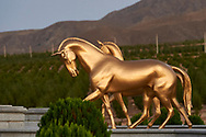 Ashgabat, Turkmenistan - 2017 September 22: The International Akhalteke Equestrian Complex (the largest horse racing hippodrome in Turkmenistan, the hippodrome was constructed by the Turkish company Etkin) near Kopetdag Avenue while 2017 Ashgabat 5th Asian Indoor & Martial Arts Games on September 22, 2017 in Ashgabat, Turkmenistan.<br /> <br /> Mandatory credit:<br /> Photo by © Adam Nurkiewicz<br /> <br /> Adam Nurkiewicz declares that he has no rights to the image of people at the photographs of his authorship.<br /> <br /> Picture also available in RAW (NEF) or TIFF format on special request.<br /> <br /> Any editorial, commercial or promotional use requires written permission from the author of image.