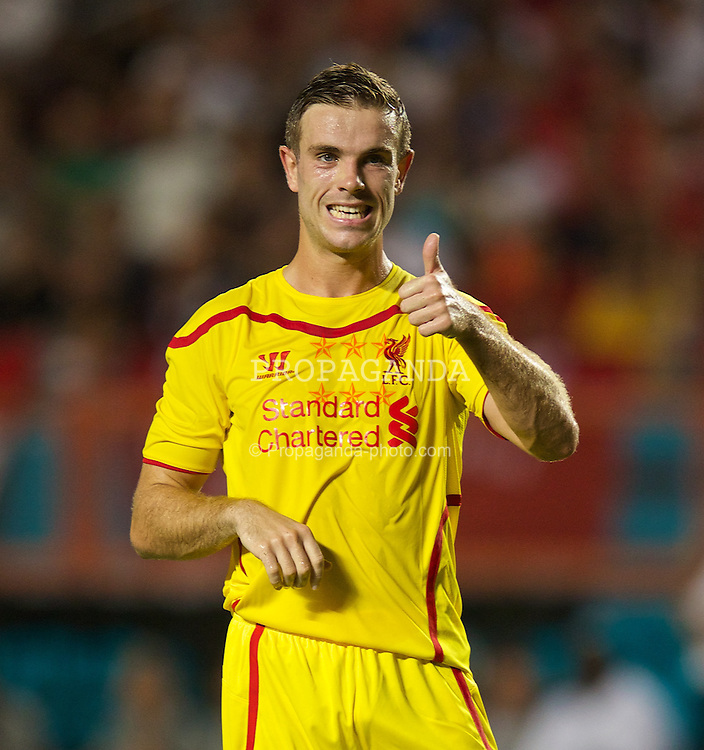 MIAMI, USA - Monday, August 4, 2014: Liverpool's Jordan Henderson during the International Champions Cup Final match against Manchester United at the SunLife Stadium on day fifteen of the club's USA Tour. (Pic by David Rawcliffe/Propaganda)