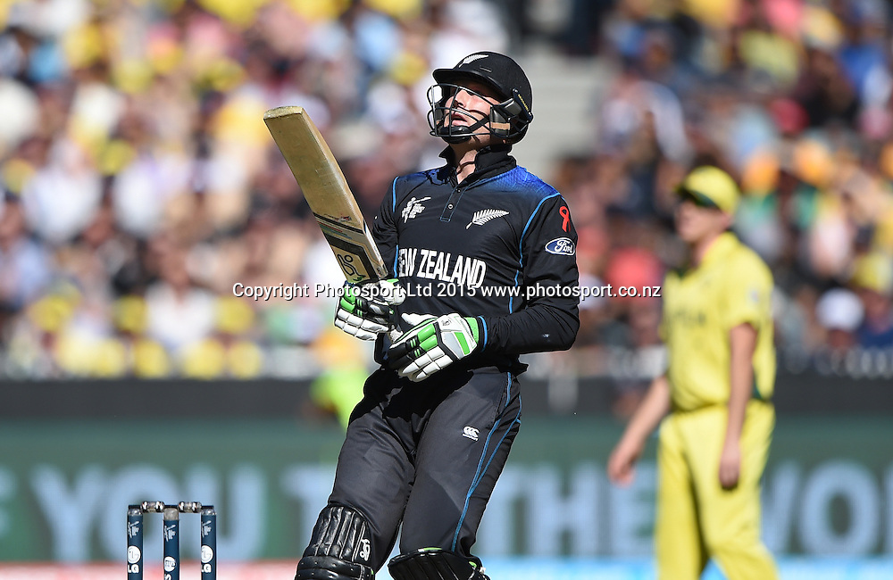 Martin Guptill during the ICC Cricket World Cup Final. New Zealand Black Caps v Australia at the MCG in Melbourne, Australia. Saturday 29 March 2015. Copyright Photo: Andrew Cornaga / www.Photosport.co.nz