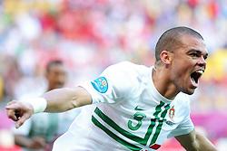 13-06-2012 VOETBAL: UEFA EURO 2012 DAY 6: POLEN OEKRAINE<br /> PEPE POR SCORES A GOAL FOR PORTUGAL during the UEFA EURO 2012 group B match between Denemarken en Portugal at Arena Lwiw, Lemberg, UKR<br /> ***NETHERLANDS ONLY***<br /> ©2012-FotoHoogendoorn.nl