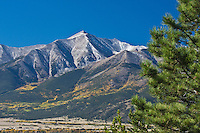 14,197 ft. Mount Princeton, as viewed from the east side of the Upper Arkansas Valley near Buena Vista, Colorado.  USA