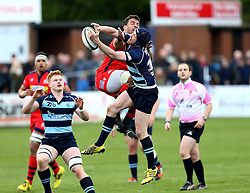 Marco Mama No 8 for Bristol Rugby and Myles Dorrian fly half for Bedford Blues try to catch the ball - Mandatory by-line: Robbie Stephenson/JMP - 23/04/2016 - RUGBY - Goldrington Road - Bedford, England - Bedford Blues v Bristol Rugby - Greene King IPA Championship