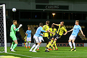 Burton Albion  forward Liam Boyce (27) shoots at goal from close range during the EFL Sky Bet League 1 match between Burton Albion and Southend United at the Pirelli Stadium, Burton upon Trent, England on 2 October 2018.