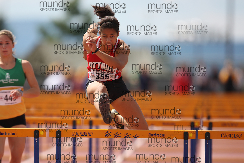 Sherbrooke, Quebec ---08/08/09---  Ashlea Maddex of Ottawa Lions T.F.C. competes in the 100 metre hurdles at the 2009 Legion Canadian Youth Track and Field Championships in Sherbrooke, Quebec, August 10, 2009..HO/ Athletics Canada (credit should read GEOFF ROBINS/Mundo Sport Images/ Athletics Canada)..