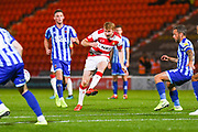 Doncaster Rovers defender Brad Halliday (2) passes the ball during the EFL Sky Bet League 1 match between Doncaster Rovers and Blackpool at the Keepmoat Stadium, Doncaster, England on 17 September 2019.