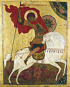 Icon - Novgorod School, 15th century. St George killing the dragon. Tritiakov Gallery, Moscow