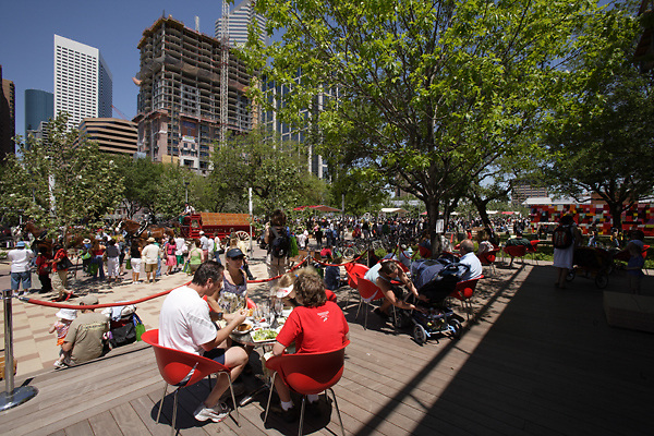 Stock photo of crowds of people eating and enjoying the afternoon