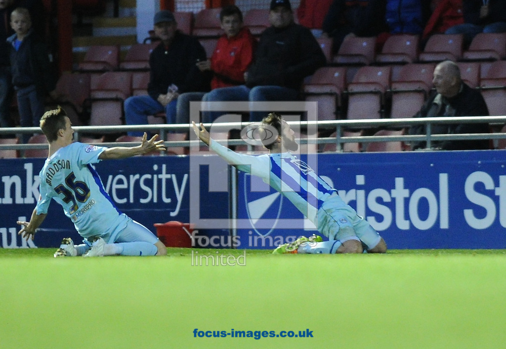 Jim O'Brien (right) of Coventry City celebrates scoring the equaliser late in the game with James Maddison to get a 2-2 draw during the Sky Bet League 1 match at the Matchroom Stadium, London<br /> Picture by Alan Stanford/Focus Images Ltd +44 7915 056117<br /> 01/11/2014