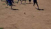 4 May 2010, Samburu, Maralal and Kisima, northern Kenya. Schoolchildren playing with a homemade soccer ball.
