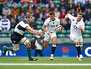 England centre Henry Slade (Exeter Chiefs)breaks past Barbarians lock Brad Thorn (Leicester & New Zealand) with England flanker Mark Wilson (Newcastle Falcons) in support during the International Rugby Union match England XV -V- Barbarians at Twickenham Stadium, London, Greater London, England on May  31  2015. (Steve Flynn/Image of Sport)
