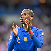 PARIS, FRANCE - March 25:  Paul Pogba #6 of France applauds the supporters at the end of the game during the France V Iceland, 2020 European Championship Qualifying, Group Stage at  Stade de France on March 25th 2019 in Paris, France (Photo by Tim Clayton/Corbis via Getty Images)
